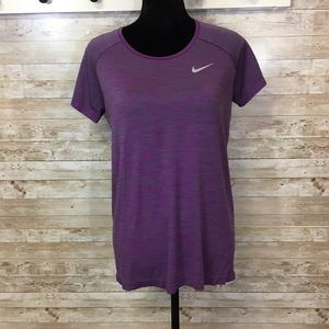Nike Dri-fit purple space dye performance tee sz L